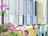 Colourful Wooden Window Shutters in the Boat Quay Area of Singapore  Southeast Asia  Asia