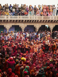 Lathmar Holi Celebrations in Nand Rae Temple  Nandagaon  Braj  Uttar Pradesh  India  Asia