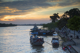 Boats on Ben Tre River at Sunset  Ben Tre  Mekong Delta  Vietnam  Indochina  Southeast Asia  Asia