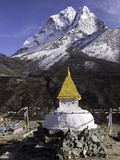 Buddhist Stupa Outside the Town of Dingboche in the Himalayas  Nepal  Asia
