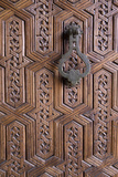 Detail of Old Ornately Carved Wooden Door  Medina  Marrakesh  Morocco  North Africa  Africa