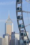 Ferris Wheel and Wan Chai Skyline  Hong Kong Island  Hong Kong  China  Asia