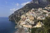Elevated View of Positano Beach and Cliffs  Costiera Amalfitana (Amalfi Coast)  Campania  Italy