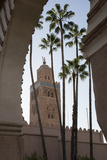 Minaret of Koutoubia Mosque with Palm Trees  UNESCO World Heritage Site  Marrakesh  Morocco