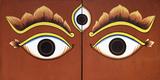 Buddha Eyes Painted on a Door in Kathmandu  Nepal  Asia