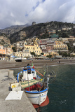 Fishing Boat at Quayside and Positano Town  Costiera Amalfitana (Amalfi Coast)  Campania  Italy