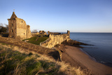St Andrews Castle and Castle Sands from the Scores at Sunrise  Fife  Scotland  UK