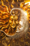 Moon and Sun Carnival Mask Decorations  Venice  Veneto  Italy  Europe