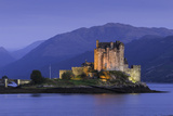Eilean Donan Castle Floodlit at Night on Loch Duich  Scotland  United Kingdom