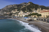 Beach  Town and Hills of Amalfi in Sunshine with Breaking Waves  Costiera Amalfitana (Amalfi Coast)
