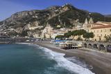 Beach  Town and Hills of Amalfi in Sunshine with Breaking Waves  Costiera Amalfitana (Amalfi Coast)