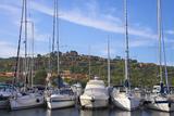 Marina and Perched Village  Ottiolu Harbour  Costa Degli Oleandri  Sardinia  Italy  Mediterranean