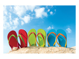 Colorful Flipflops Sunny Beach