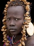 Portrait of Mursi Girl  Omo Valley  Ethiopia