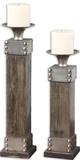 Lican Natural Wood Candleholders  Set/2
