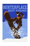 Winterplace  West Virginia - Colorblock Snowboarder