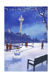 Space Needle in Snow  Seattle  WA