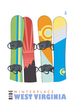 Winterplace  West Virginia - Snowboards in Snow