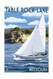Table Rock Lake  Missouri - Sailboat and Lake