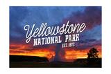 Yellowstone National Park - Old Faithful Sunset