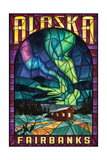 Fairbanks  Alaska - Cabin and Northern Lights Stained Glass