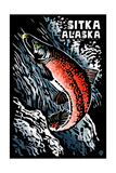 Sitka  Alaska - Sockeye Salmon - Scratchboard