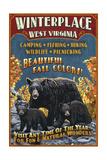 Winterplace  West Virginia - Black Bear Vintage Sign