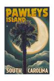 Pawleys Island  South Carolina - Palmetto Moon and Palm