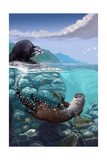 River Otters - Underwater Scene