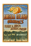 Amelia Island  Florida - Orange Grove - Vinatge Sign