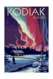 Kodiak  Alaska - Northern Lights and Cabin