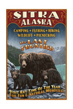 Sitka  Alaska - Black Bear Family Vintage Sign