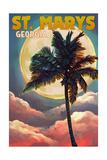 St Marys  Georgia - Palm and Moon (Sunset Version)