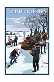 Amish Country - Gathering Firewood Winter Scene