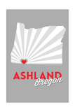 Ashland  Oregon - State with Red Heart