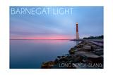 Barnegat Light  New Jersey - Barnegat Lighthouse and Pink Sunset