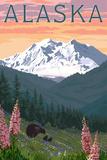 Alaska - Bear and Spring Flowers