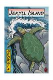 Jekyll Island  Georgia - Sea Turtle - Woodblock Print
