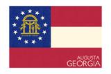 Augusta  Georgia - Georgia State Flag - Letterpress