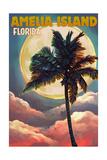 Amelia Island  Florida - Palm and Moon