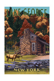 Lake George  New York - Deer Family and Cabin