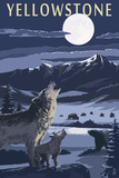 Yellowstone - Wolves and Full Moon