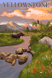 Yellowstone National Park - Moose and Meadow Scene