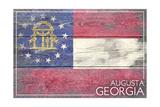 Augusta  Georgia - Georgia State Flag - Barnwood Painting