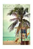 Newport Beach  California - Lifeguard Shack and Palm