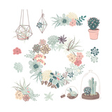 Wedding Graphic Set with Succulents  Wreath and Glass Terrariums