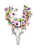 Bright Watercolor Vector Deer Skull with Flowers. Reproduction d'art par Kris_art