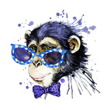 Monkey T-Shirt Graphics Monkey Illustration with Splash Watercolor Textured Background Unusual Il