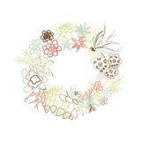 Floral Frame Cute Succulents Arranged Un a Shape of the Wreath Perfect for Wedding Invitations And