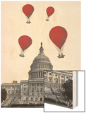 US Capitol Building and Red Hot Air Balloons
